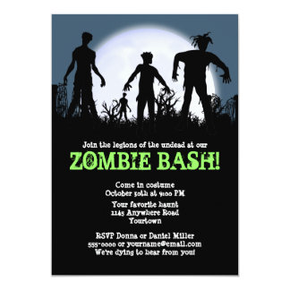 "Zombie Bash Halloween Party 5"" X 7"" Invitation Card"