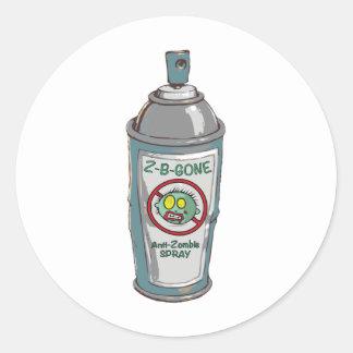 Zombie be gone spray can classic round sticker