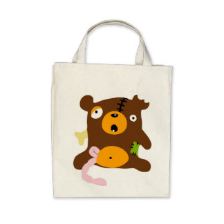 Zombie bear canvas bags