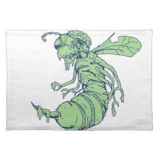 Zombie Bee Cartoon Placemat
