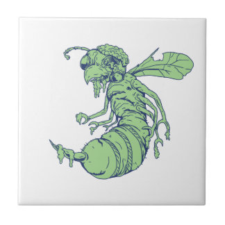 Zombie Bee Cartoon Tile