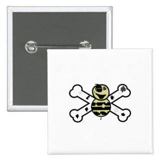 zombie bee zombee and crossbones pinback button