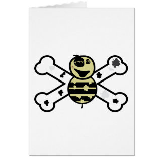 zombie bee zombee and crossbones greeting card