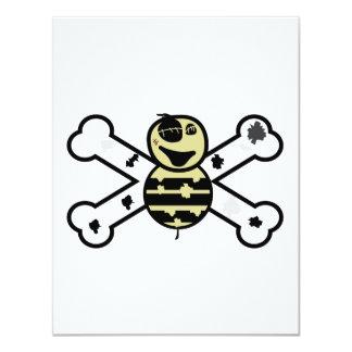 """zombie bee zombee and crossbones 4.25"""" x 5.5"""" invitation card"""