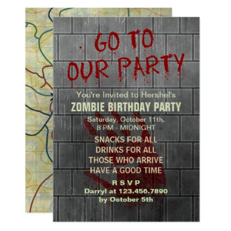 Zombie Birthday Party Undead Apocalypse Blood Text 13 Cm X 18 Cm Invitation Card