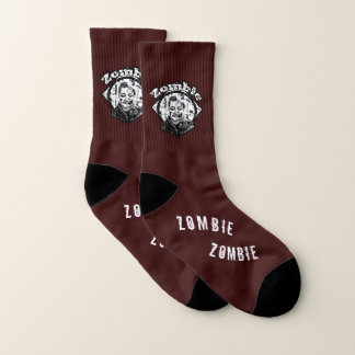Zombie - Black and White on Dark Red Socks