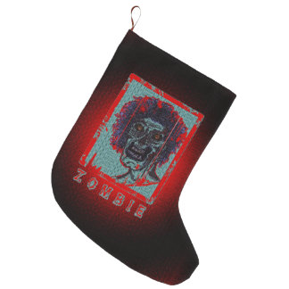 Zombie- Blue & Red Large Christmas Stocking