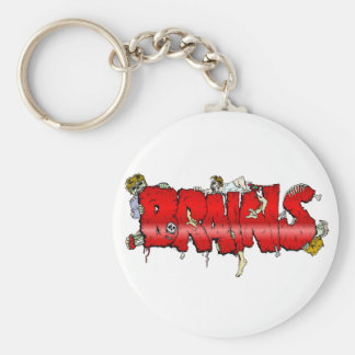 Zombie BRAINS Basic Round Button Key Ring