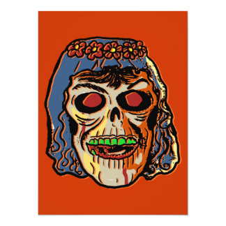 Zombie Bride - Vintage Halloween Mask 14 Cm X 19 Cm Invitation Card