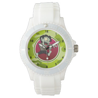 Zombie; bright green camo, camouflage watch