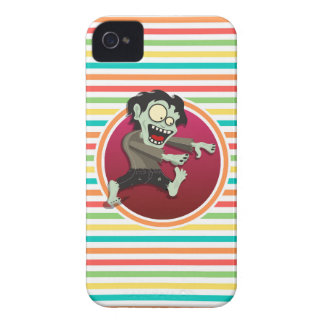 Zombie Bright Rainbow Stripes iPhone 4 Cover