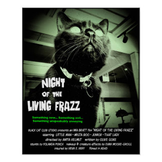 Zombie Cat Horror Movie Poster, Green 16 x 20 Poster