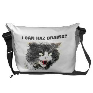 Zombie Cat I Can Haz Brainz Large Messenger Bag