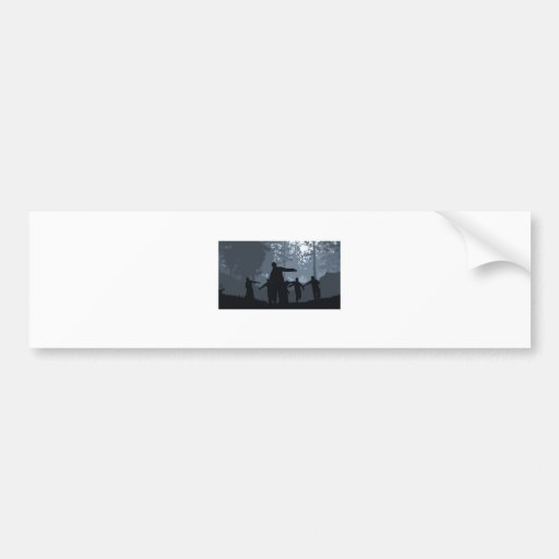Zombie Chase in the Forest Bumper Sticker