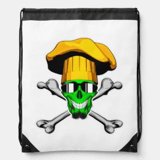Zombie Chef Skull v14 Drawstring Bag