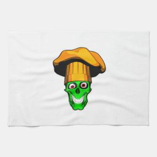 Zombie Chef Skull v7 Kitchen Towels