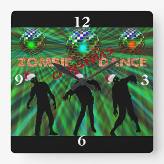Zombie Christmas Disco Dance Square Wall Clock