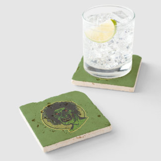 Zombie Color Illustration On Green Stone Coaster