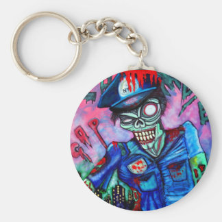 Zombie Cop Basic Round Button Key Ring