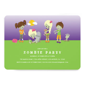 Zombie Costume Party 13 Cm X 18 Cm Invitation Card