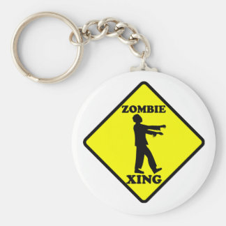 Zombie Crossing Basic Round Button Key Ring
