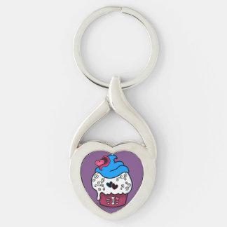 Zombie Cupcake Heart Keychain