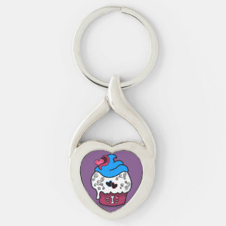 Zombie Cupcake Heart Keychain Silver-Colored Twisted Heart Key Ring
