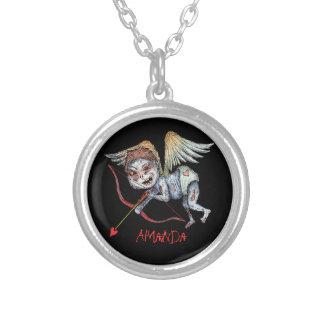 Zombie Cupid (Valentine) Round Pendant Necklace