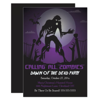 Zombie Dawn Of The Dead Halloween Party Invitation