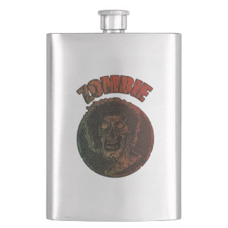 Zombie Distressed Looking Graphic Multi Color Hip Flask