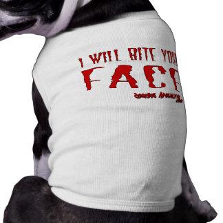 """Zombie Dog Wear! """"I will bite your Face"""" Sleeveless Dog Shirt"""