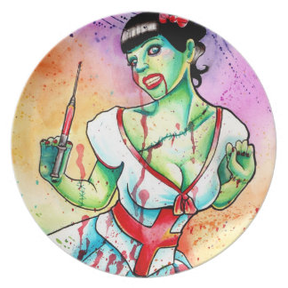 Zombie Doll Nurse Tattoo Flash Plate