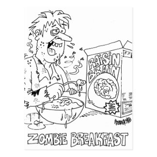 Zombie Eats Raisin Brain Cereal For Breakfast Postcard