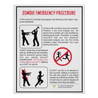 Zombie Emergency Procedure Poster