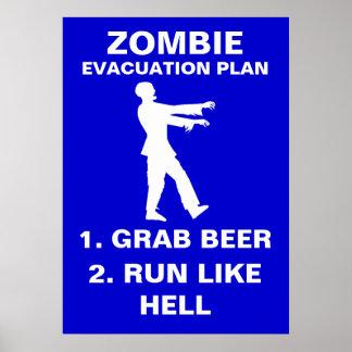 Zombie Evacuation Plan 1. Grab Beer 2. Run Like Poster