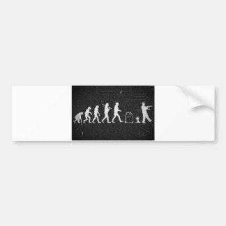 zombie evolution from monkey to human to zombie bumper sticker