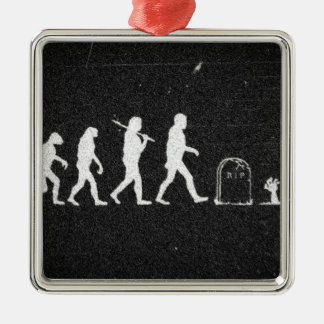 zombie evolution from monkey to human to zombie Silver-Colored square decoration