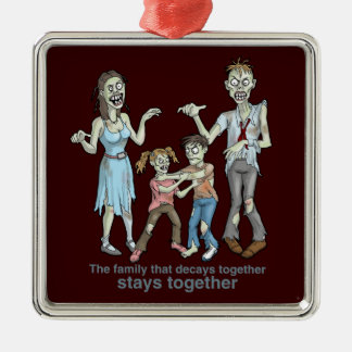 Zombie Family Decay Metal Ornament