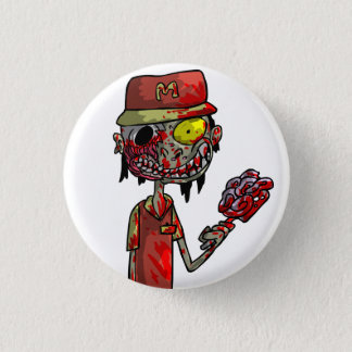 Zombie Fast-Food Worker 3 Cm Round Badge
