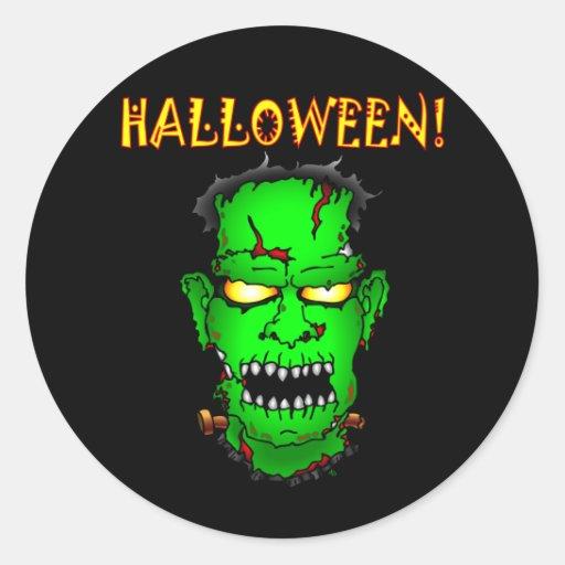 Zombie Frankenstein Round Stickers