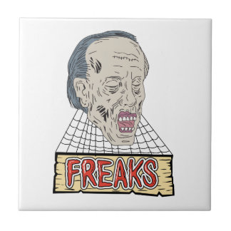 Zombie Freaks Cobwebs Drawing Tile