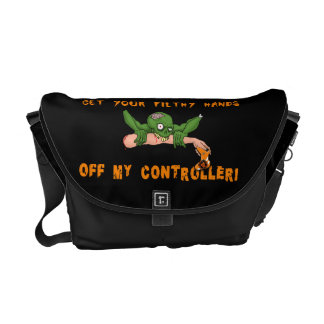 Zombie Get Your Hands Off My Controller Messenger Bags