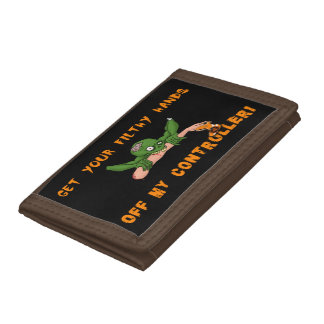 Zombie Get Your Hands Off My Controller Trifold Wallet