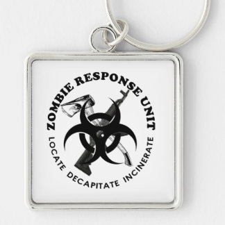 Zombie Gift Response Team Gifts Customize Silver-Colored Square Key Ring