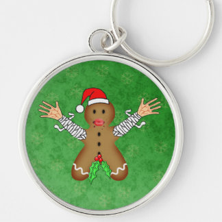 Zombie Gingerbread Silver-Colored Round Key Ring