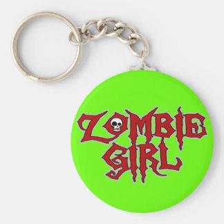 Zombie Girl Basic Round Button Key Ring