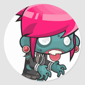 Zombie Girl Cartoon Classic Round Sticker