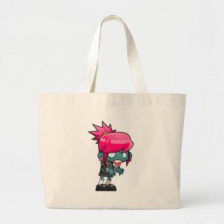 Zombie Girl Cartoon Large Tote Bag