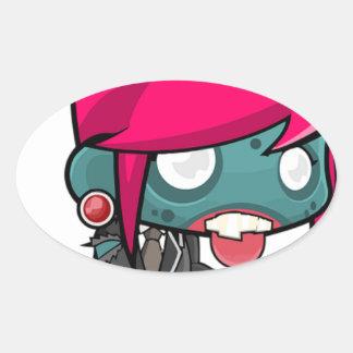 Zombie Girl Cartoon Oval Sticker