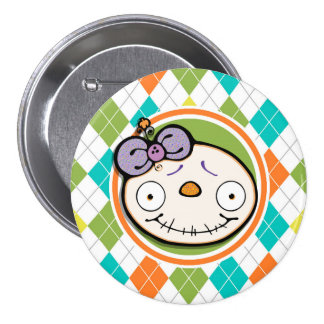 Zombie Girl on Colorful Argyle Pattern Pins